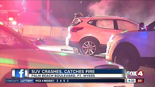 SUV crashes, catches on fire in Fort Myers