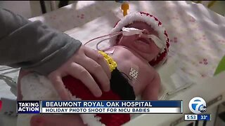 Holiday photo shoot for babies in NICU at Royal Oak Beaumont Hospital