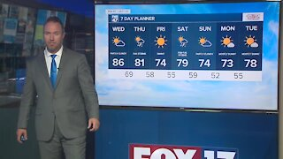 Partly cloudy, warm, and humid with highs in the mid-80s
