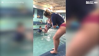 Water baby learns to swim at just a few months old