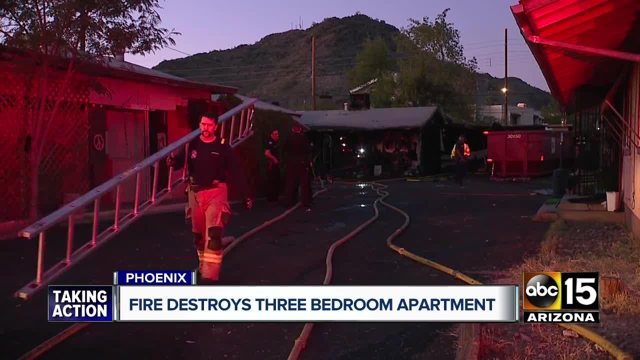 Fire destroys three bedroom apartment in Phoenix