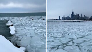 Incredible footage of a frozen Lake Michigan at the Chicago Lakefront