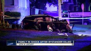 Family in shock after bystander killed in crash