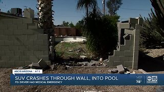 SUV crashes through wall, into pool