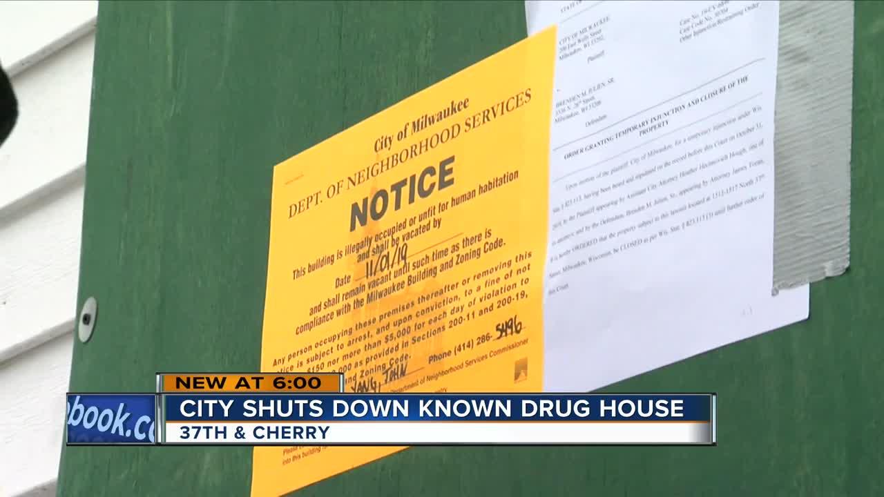 City shuts down known drug house near grade school