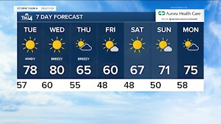 Skies clear tonight and lows in the upper 50s