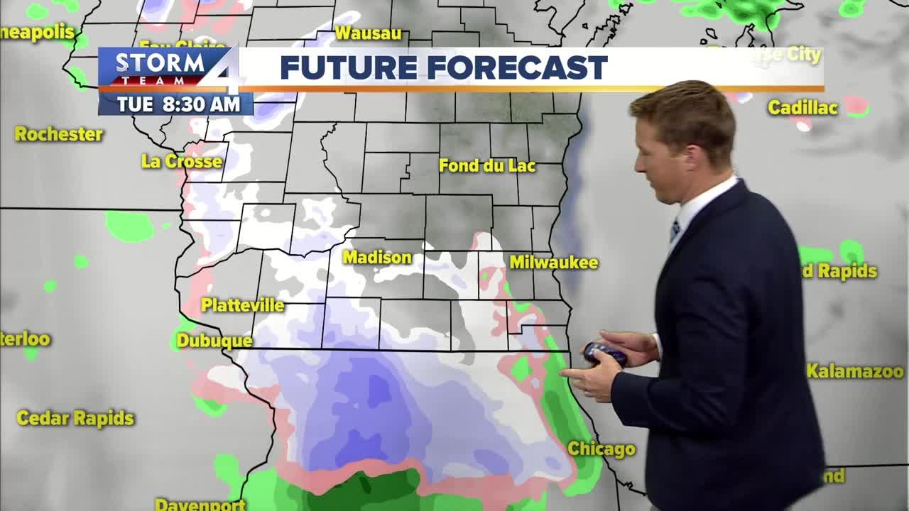 Slight chance of light rain, snow Tuesday