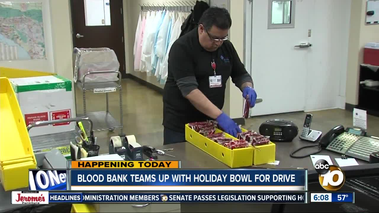 Blood bank teams up with Holiday Bowl for drive