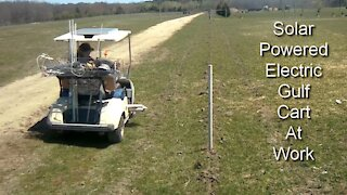 Electric Gulf Cart Solar Powered on the Farm Save Money & Environment