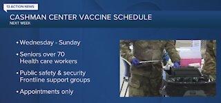 Cashman Center vaccine schedule released
