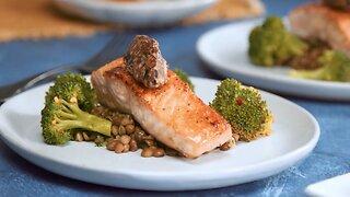 Sautéed Black Garlic Butter Verlasso Salmon - Lentils & Steamed Broccoli