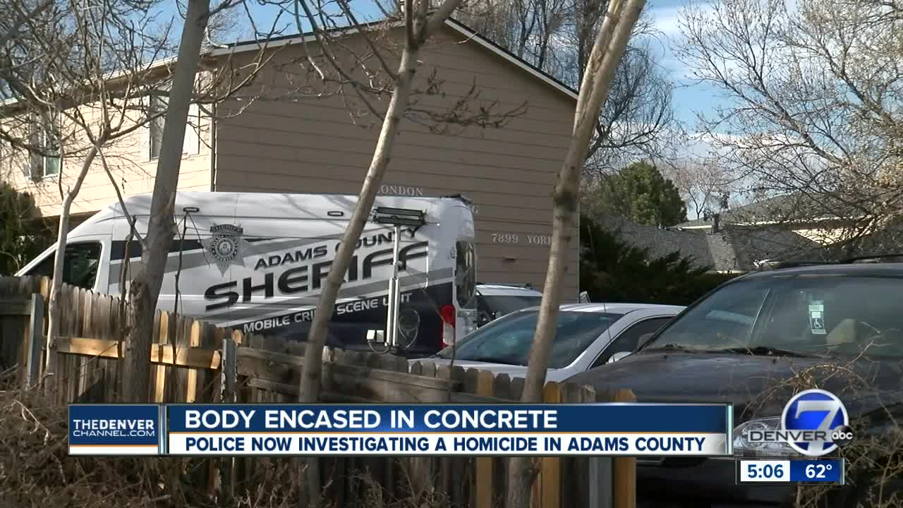 Man's body found encased in concrete inside Adams County apartment