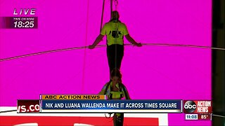 Flying Wallendas safely cross Times Square on high wire
