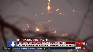 The Kern County Fire Department has issued recommended evacuations as the Stagecoach Fire reaches 1,500 acres and 0% containment.