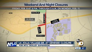 La Jolla Village Drive at Genesee Closure for MTS Trolley expansion