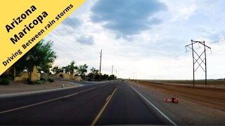 Arizona Small town America Driving through Maricopa Arizona between rain storms