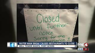 Water main break closed restaurants in Bell Tower Shops Friday night