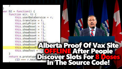 ACCESS DENIED: Alberta VaxPass Website Stops Working After People Find 8 Shot Slots In Source Code