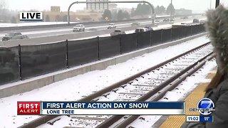 Snow in the Denver metro area Monday morning