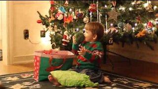 Liten gutt i ekstase over å motta frukt og grønnsaker til jul