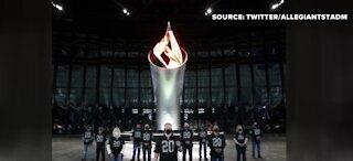 Raider Nation lit torch inside Allegiant Stadium