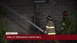 Crews battle fire at old Menasha paper mill