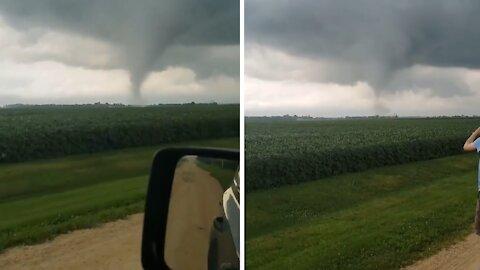 Terrifying footage of a damaging tornado in Esmond, Illinois