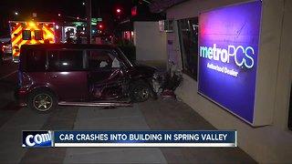 Car slams into Spring Valley business