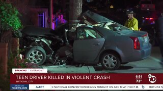 Teen driver killed in crash in National City