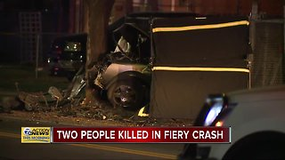 Two killed in fiery crash on west side of Detroit