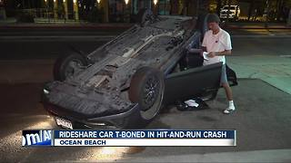 Rideshare car struck by hit-and-run driver