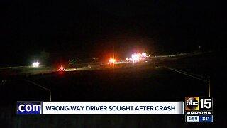Wrong way driver sought after crash