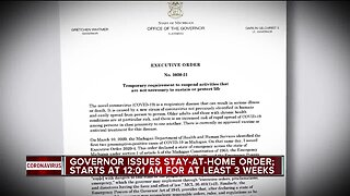 """Michigan Gov. Gretchen Whitmer signed a """"Stay home, stay safe"""" executive order on Monday morning."""