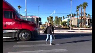 Woman almost hit during crosswalk safety event