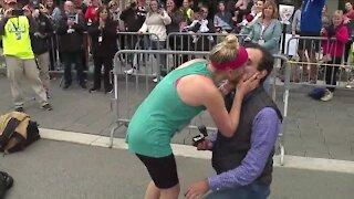 Akron Half Marathon runner gets surprise proposal after crossing finish line