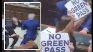 Chaos In Italian Parliament As MPs Protest Mandatory Covid 'Green Pass'