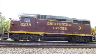 CSX Manifest Mixed Freight Train with Ohio Central System Locomotive From Berea, Ohio