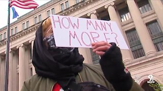 Anti-police violence rally draws dozens of protesters at HamCo Courthouse