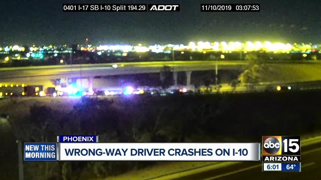 Wrong-way driver causes crash on I-10