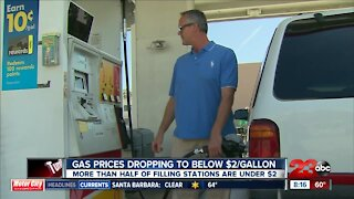 Gas prices dropping below $2 per gallon
