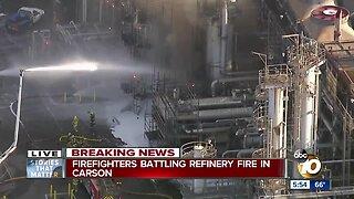 Firefighters battling refinery fire in Carson