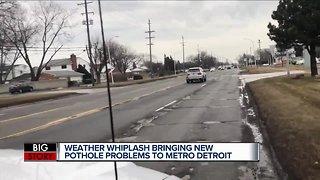 Weather whiplash causing new pothole problems in metro Detroit