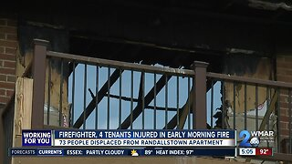 Firefighter among five injured from flames thate burned through a Randallstown apartment building