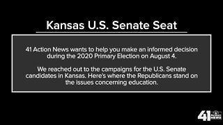 Candidates for U.S. Senate - Kansas on education