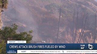Crews attack brush fires