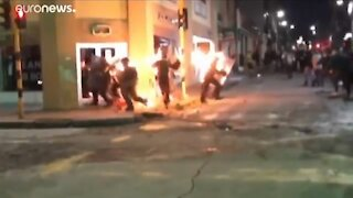Police Set On Fire During Colombia Riots
