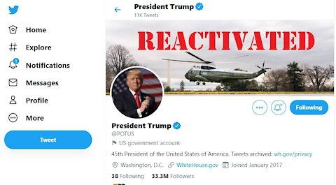 President Trump Twitter and Facebook accounts are reactivated today.