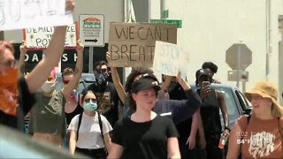 Protesters peacefully march to St. Pete police station