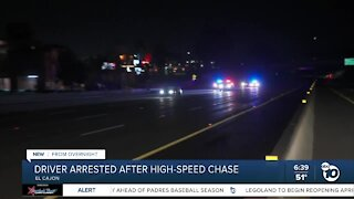 Driver arrested after high-speed chase in El Cajon