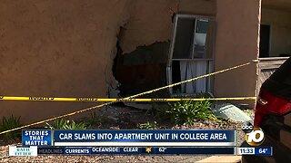 Vehicle crashes into College Area apartment unit, leaves scene